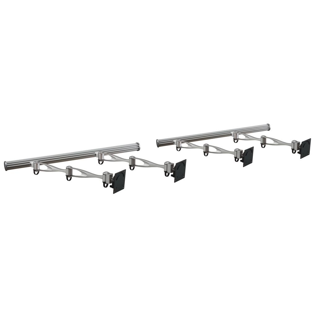VESA Wall Mount for 4 Monitors w/ Full Swing Double Arms