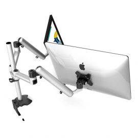 Dual Monitor Desk Mount for Apple w/ Full Motion & Quick Release