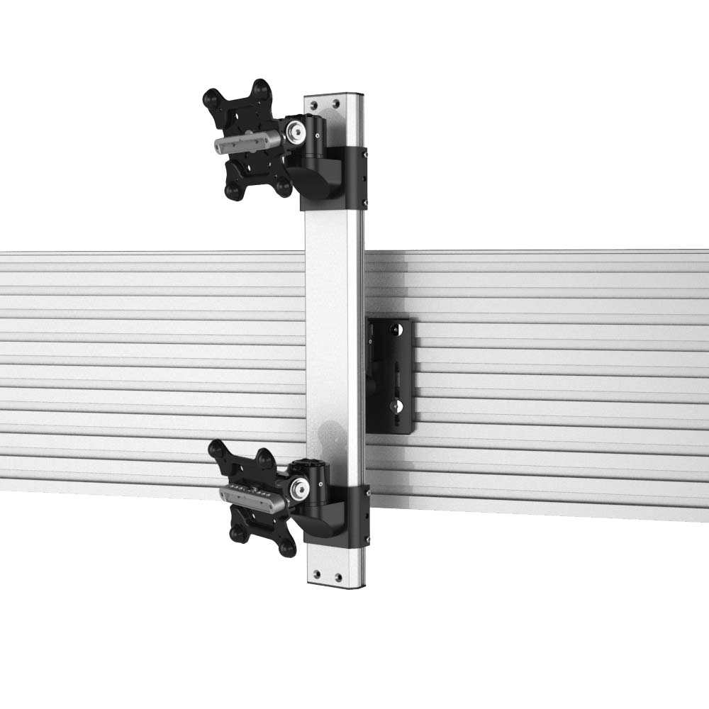Dual Apple VESA Mount Stacking for Slatwall w/ Quick Release