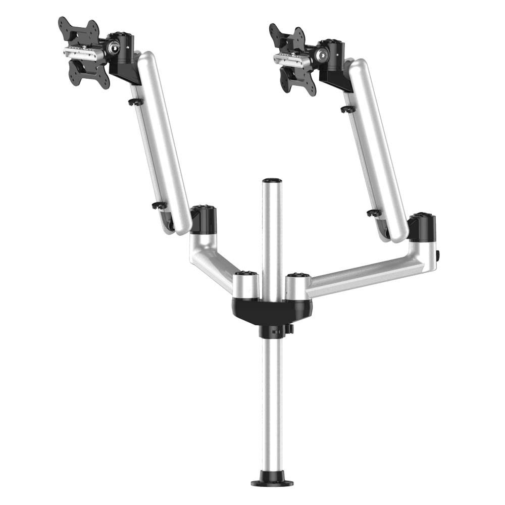 Dual Track Rail Mount for Apple Display w/ Articulating Spring Arms