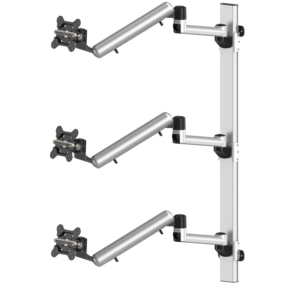 Triple Monitor Wall Mount for Apple Stacking Full Motion Quick Release