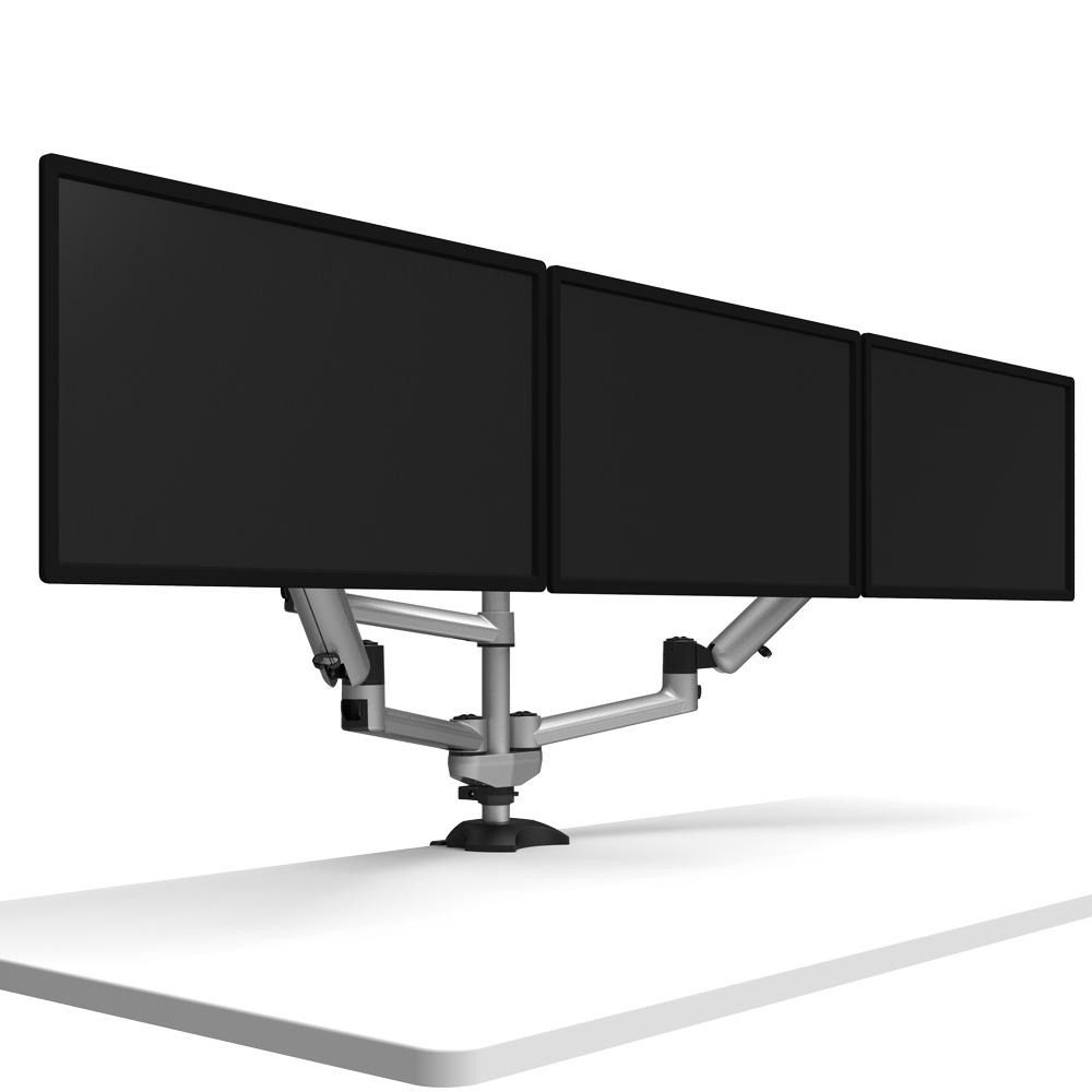 Triple Monitor Desk Mount W Independent Full Motion