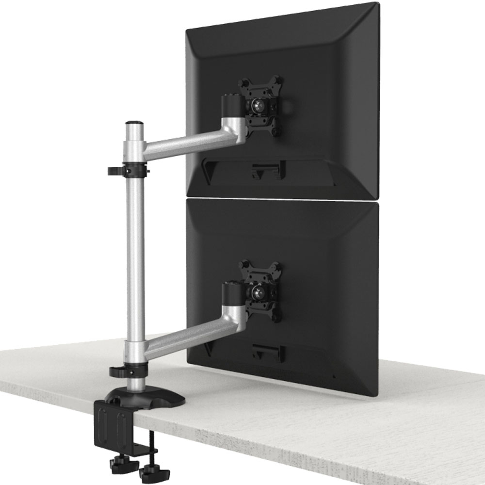 Dual Monitor Stand Up and Down w/ Quick Release & Single Arms