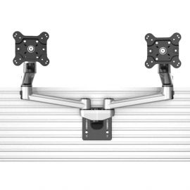 Dual VESA Mount for Slatwall w/ Quick Release Dual Arm