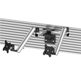 Dual VESA Mount for Slatwall w/ Full Motion & Quick Release