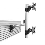 Dual VESA Mount for Slat Wall Stacked w/ Quick Release Single Arm