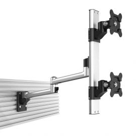 Dual VESA Mount for Slatwall Stacked w/ Quick Release Dual Arm
