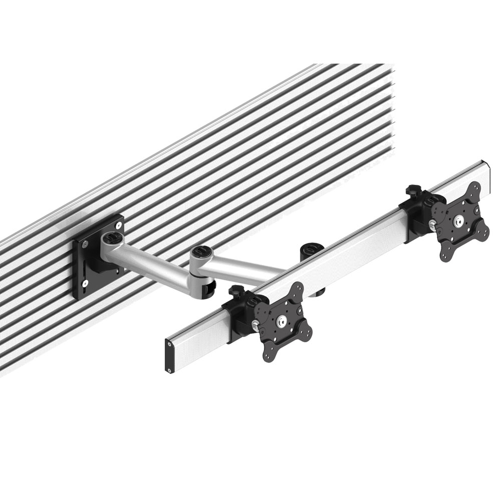 Dual VESA Mount for Slatwall Side by Side Quick Release w/ Dual Arm