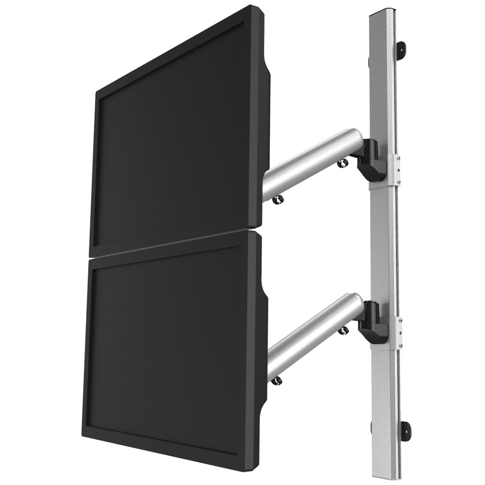 Dual VESA Wall Mount Quick Release Two Orientations w/ Spring Arms
