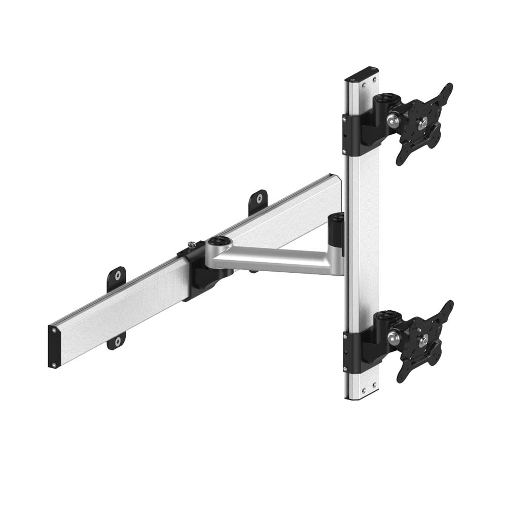 Dual VESA Wall Mount Up & Down Quick Release w/ Single Arm