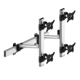 VESA Wall Mount for 4 Monitors 2x2 Quick Release w/ Single Arms