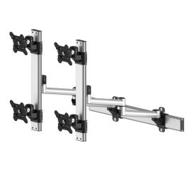 VESA Wall Mount for 4 Monitors 2x2 Quick Release w/ Dual Arms