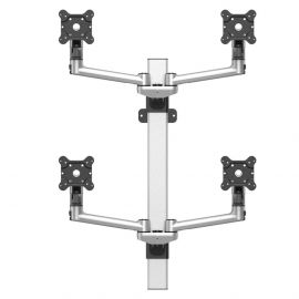 VESA Wall Mount for 4 Monitors 2x2 w/ Quick Release & Dual Arms