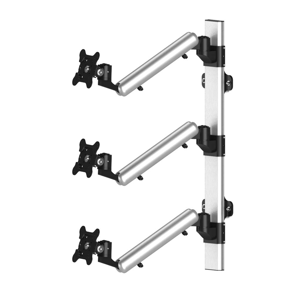 Triple Monitor Wall Mount Stacking w/ Quick Release & Spring Arms