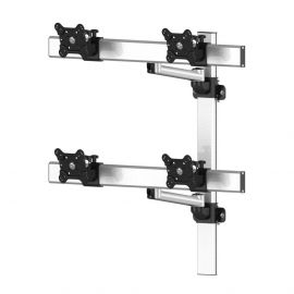 VESA Wall Mount for 4 Monitors 2x2 w/ Quick Release & Single Arms