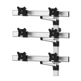 VESA Wall Mount for 6 Monitors 2x3 w/ Quick Release & Single Arms