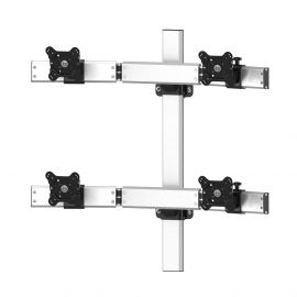 VESA Wall Mount for 4 Monitors 2x2 Oval or Straight w/ Quick Release