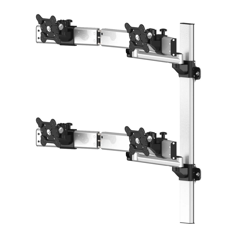 VESA Wall Mount for 4 Monitors Oval or Straight w/ Quick Release