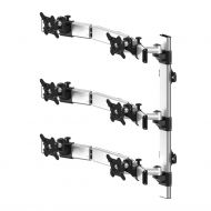 VESA Wall Mount for 6 Monitors 2x3 Oval or Straight w/ Quick Release