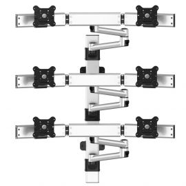 VESA Wall Mount for 6 Monitors 2x3 Quick Release w/ Dual Arms