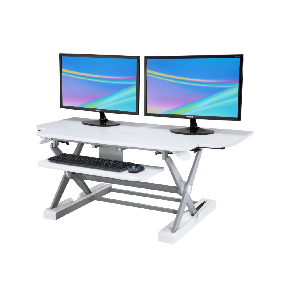 Sit Stand Desk Converter Dynamically Height Adjustable White