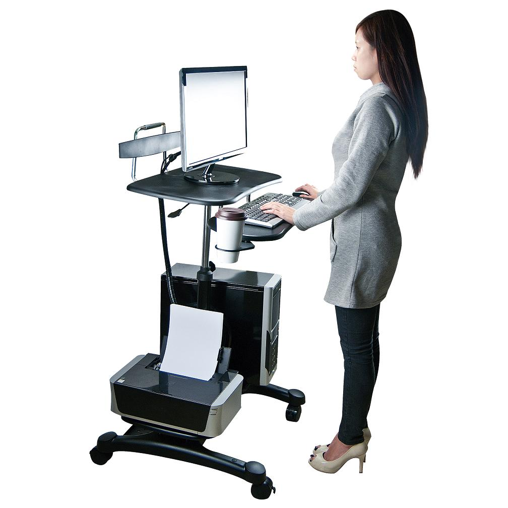 uk availability 5ecd6 13cd6 Sit Stand Workstation w/ Wheels & Cable Manager