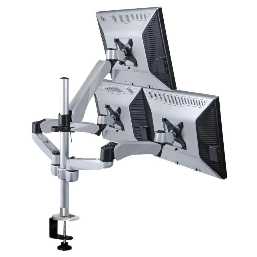 Triple Monitor Desk Mount W Spring Arm Quick Connect