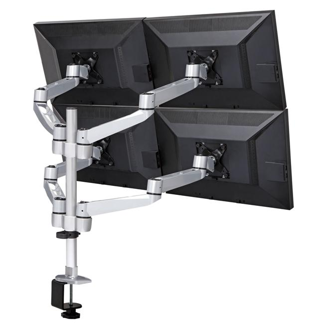 Quad Monitor Stand w/ Swiveling Arms & Quick Release
