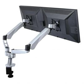 Dual Monitor Desk Mount w/ Spring Arms & Short Pole