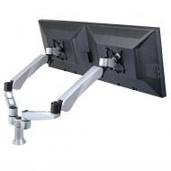 Dual Monitor Desk Mount w/ Quick Release & Short Pole