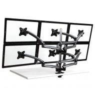 6 Monitor Stand 3X2 w/ Spring Arms Dark Gray