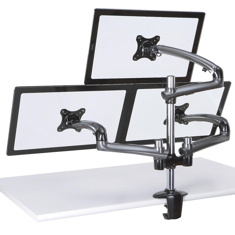 Triple Monitor Desk Mount W Spring Arms Dark Gray