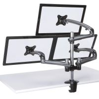 Triple Monitor Desk Mount w/ Spring Arms Dark Gray