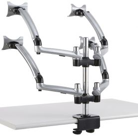 Quad Monitor Stand for Apple 2X2 w/ Spring Arms Silver