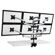 6 Monitor Stand 3X2 w/ Spring Arms Silver