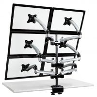 6 Monitor Stand 2X3 w/ Spring Arms Silver