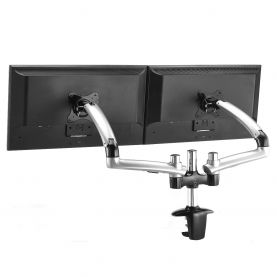 Dual Monitor Stand - Expandable w/ Spring Arms Silver