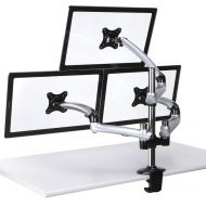Triple Monitor Desk Mount w/ Spring Arms Silver