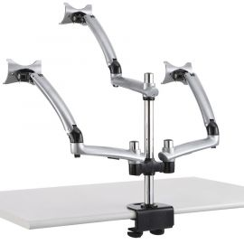 Triple Monitor Desk Mount for Apple w/ Spring Arms Silver