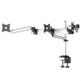 Triple Monitor Desk Mount w/ Quick Release Spring Arm & Single Arm