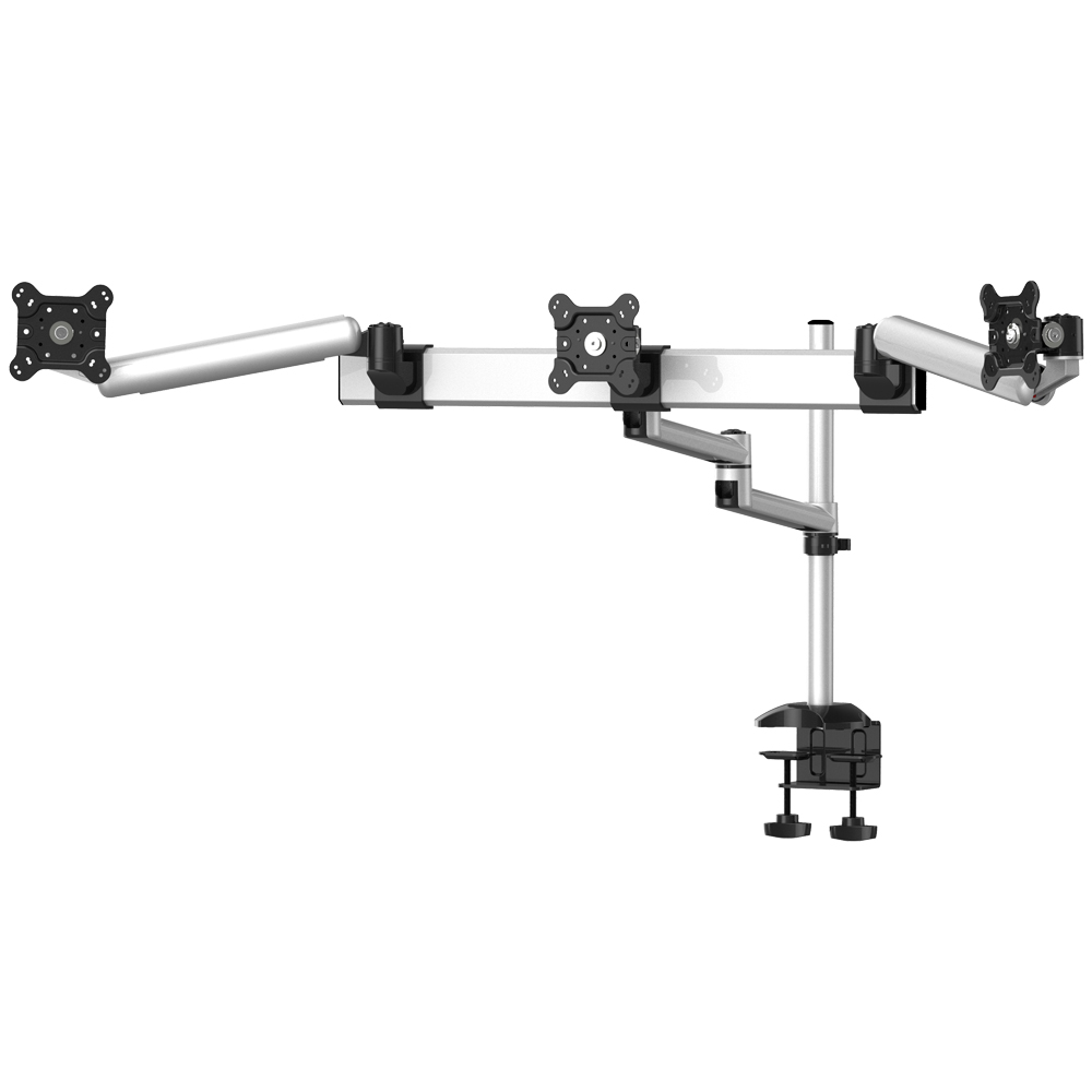 Triple Monitor Desk Mount w/ Quick Release Spring Arm & Dual Arm