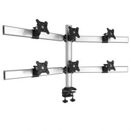 6 Monitor Stand 2X3 Oval or Straight w/ 2-in-1 Base & Quick Release