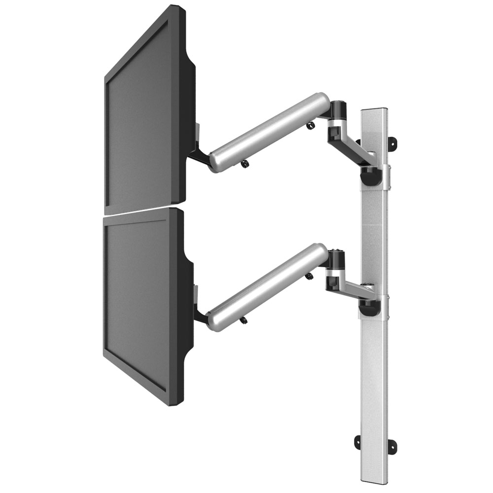 Dual VESA Wall Mount Quick Release Two Orientations w/ Full Motion