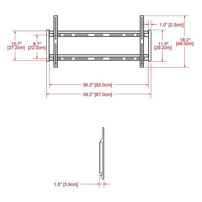 "Apple Construction Dimensions: Flat TV Wall Mount - 32""-63"""