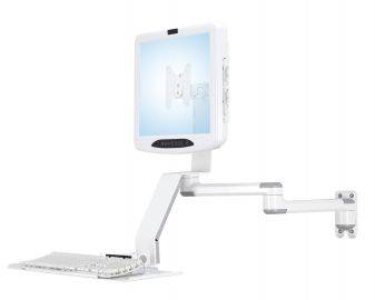 Wall Mount w/ Laterally Adjusting Monitor Arm & Keyboard Tray